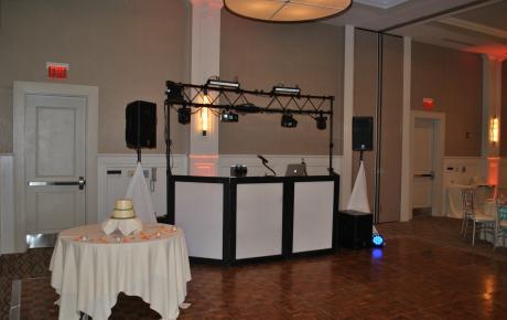 Large wedding DJ setup with computer programed light show.