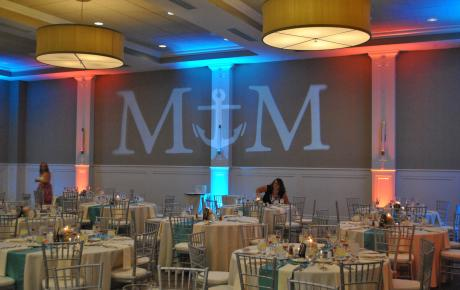 Audio Events | Projection monogram and uplighting for a wedding at the Portsmouth Harbor Events & Conference Center
