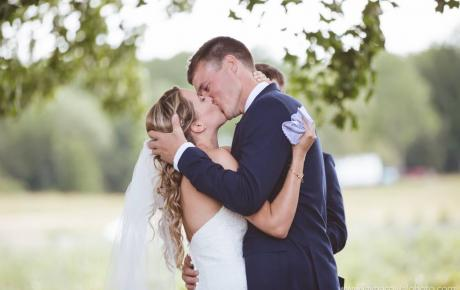 First kiss as husband and wife at Flag Hill Winery. Photo by Jayna Cowal Photographer Ceremony Music provided by Audio Events